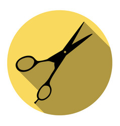 Hair cutting scissors sign flat black vector