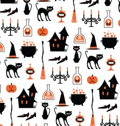 halloween witch motifs on white vector image