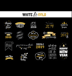 Happy new year 2019 typographic emblems set vector
