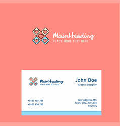 hearts blocks logo design with business card vector image