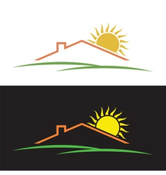 House sun hills silhouettes vector image