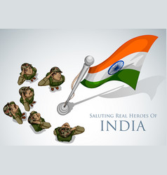 indian army soilder saluting falg of india with vector image