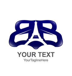 initial letter bb logo template colored blue vector image