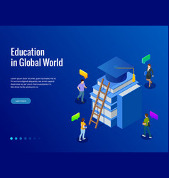 Isometric banner for web education in global world vector