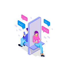 Isometric woman and man typing on mobile vector