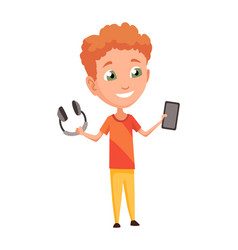 kid using gadget child and modern technology vector image