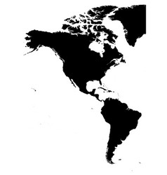 Land silhouette map of americas north and south vector