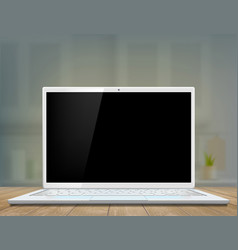 laptop with a black screen on the desk vector image