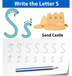 Letter s tracing alphabet worksheets vector
