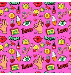 Lips hands cosmetics fashion seamless pattern vector