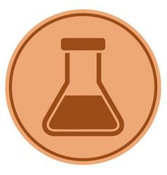 Liquid flask bronze coin vector