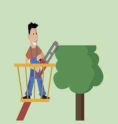 Man cuts wood vector