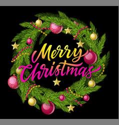 Merry christmas wreath - modern realistic vector