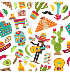 mexican seamless pattern colored pictures vector image