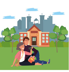 Millennial student couple on campus background vector