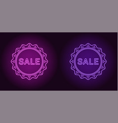 Neon icon of purple and violet sale badge vector