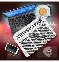 newspaper with laptop and mobile phone with coffee vector image