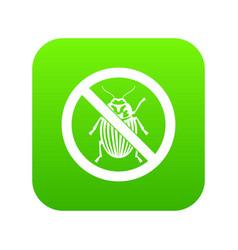 No potato beetle sign icon digital green vector