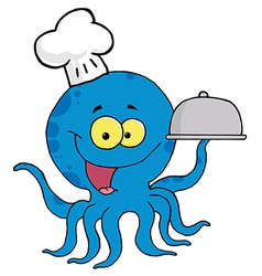 Octopus Chef Serving Food In A Sliver Platter vector image