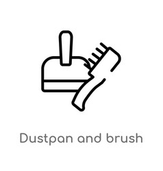Outline dustpan and brush icon isolated black vector