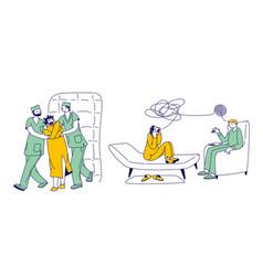 Patient character in straitjacket in asylum vector