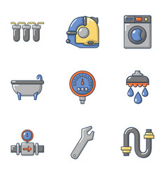 pipe chief icons set flat style vector image