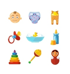 pistures of Toys icons set isolate on white vector image