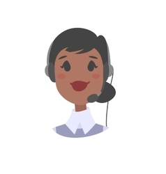 Portrait of happy smiling female customer support vector