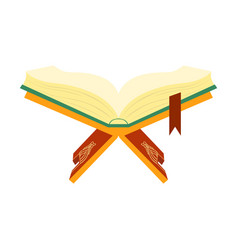 Quran holy book muslims on a wooden book stand vector