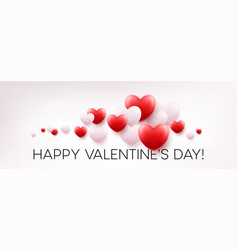 red hearts background with happy valentines day vector image