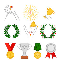 rewards cup and medals man with cup on top vector image