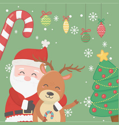 santa hugging reindeer tree candy cane balls vector image
