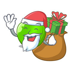 Santa with gift green smith apple isolated on vector