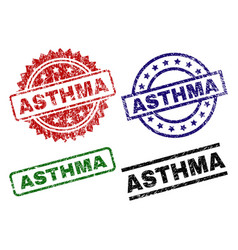 Scratched textured asthma stamp seals vector