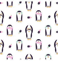 seamless pattern with cute kid penguins vector image