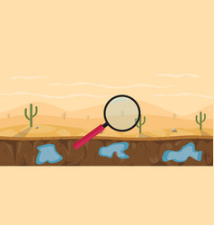 search or finding water in the desert with vector image