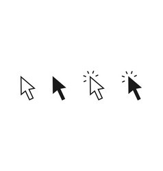 Set clicking arrows outline and bold arrow vector