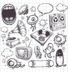 set hand drawn elements vector image