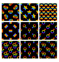 set of seamless pattern with bright pride vector image