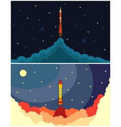 set of space rocket launch vector image