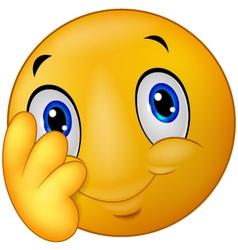 Shy emoticon smiley vector image