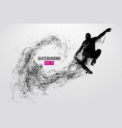 silhouette a skateboarder vector image