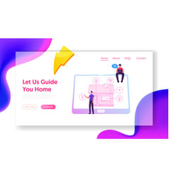 Smart house website landing page technology vector