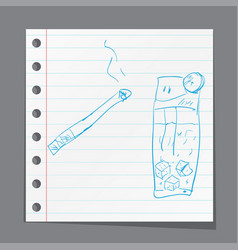 Smoking cigarette a children39s sketch vector