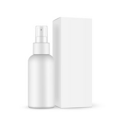 Spray bottle with transparent cap paper box vector