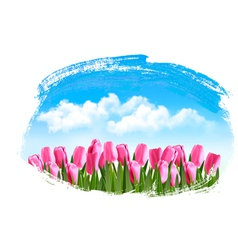 Spring background with pink tulips vector