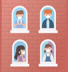 Stay at home young people with medical masks vector