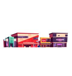 Store buildings clothes shop supermarket facades vector