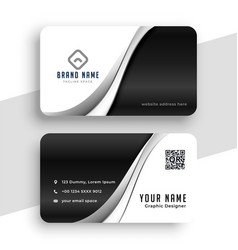 Stylish black and white wavy business card design vector