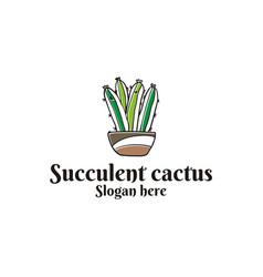 Succulent cactus logo vector